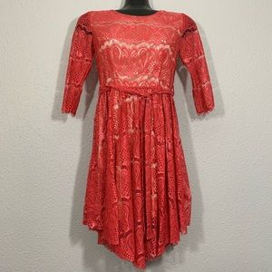 Moon Collection Coral Lace 3/4 Sleeve Dress size S